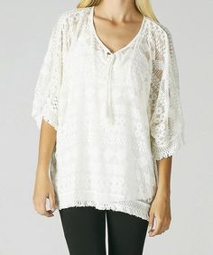 Look what I found on #zulily! Off-White Crocheted Lace Tunic #zulilyfinds  $36.99