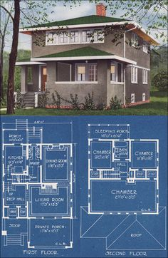 Modern Stucco Foursquare House Plan - 1921 C. L. Bowes - American Homes Beautiful  This is one of my dream home layouts--American Foursquare architecture, the split staircase landing leading to front and back--all of it.