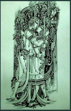 things to sketch Madhubani Art, Madhubani Painting, Indian Art Traditional, Krishna Art, Krishna Painting, Radhe Krishna, Art Sketches, Art Drawings, Kalamkari Painting