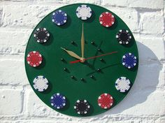 Wall Clock Casino Green Table home and living by OlgaArtShop