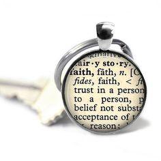 Faith definition key ring vintage dictionary word religious keychain trust key chain.