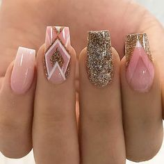 18 Trending Nail Designs That You Will Love - Best Nail Art Pink Gold Silver Glitter Geometric Manicure - French tip - Square shaped long nails - cute summer fall spring fingernails - gel nails - shellac - Square Nail Designs, Best Nail Art Designs, Nail Designs With Gold, Awesome Nail Designs, Aztec Nail Designs, Aztec Nail Art, Aztec Nails, Gorgeous Nails, Long Nails
