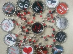 50 Shades of Grey Party Favors and Decorations a Set of 15.. You can choose from: Wine Charms Necklaces Water/Beer Bottle Charms Zipper Pulls Pins Matching CupCake Toppers or you can mix and match them, they are $1.85 each..