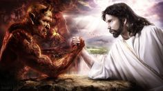 Jesus and the Devil Poster/Print/Arm Wrestling/Demon and Christ inch Poster Pictures, Print Pictures, Akiane Kramarik, Spiritual Pictures, Spiritual Sayings, Catholic Pictures, Jesus Wallpaper, Religious Wallpaper, Heaven And Hell