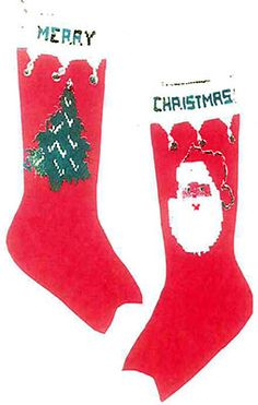 Santa and Tree Christmas Stocking knit pattern published by Grace Ennis Graphic Knitting Patterns.