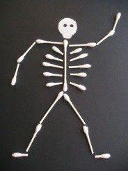 Preschool Halloween craft... Q-tip skeleton my-preschool