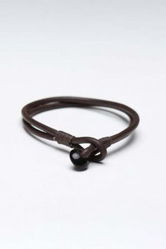Antique Leather Cord Bracelet Brown
