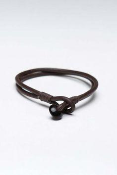 Antique Leather Cord Bracelet Brown