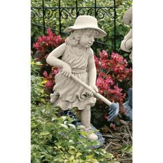 Rebecca Young Gardener Statue by Design Toscano. $59.95. Design Toscano exclusive. Cast in quality designer resin. Hand painted. NG29871 Features: -Hand painted.-Incredibly detailed from her woven straw hat to the wooden texture of her tool.-Design Toscano exclusive. Construction: -Quality designer resin construction.