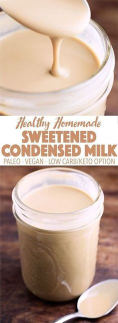 A healthy alternative to store-bought sweetened condensed milk! Easy to make at … A healthy alternative to store-bought sweetened condensed milk! Easy to make at home, paleo, dairy free, vegan, and can be made keto and low carb! Dairy Free Recipes, Paleo Recipes, Low Carb Recipes, Cooking Recipes, Gluten Free, Kitchen Recipes, Dairy Free Meals, Cooking Tips, Cooking Corn