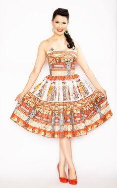 Rockabilly Girl by Bernie Dexter**50s Style Chelsea Pin Up Geisha Print Swing Dress - Unique Vintage - Homecoming Dresses, Pinup & Prom Dresses.
