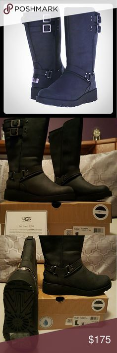 "*BRAND NEW * UGG  ~ LEATHER JASPER BOOTS Never worn! New in Box! Water Resistant Leather Upper Boots with Buckle Decorations! Easy Pull On Style with UggPure Lining! Heel Height 1 1/2"" UGG Shoes Winter & Rain Boots"