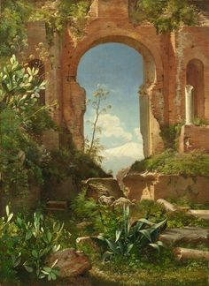 Carl Frederik Aagaard, VIEW THROUGH RUINS ON MOUNT ETNA, Made of Oil