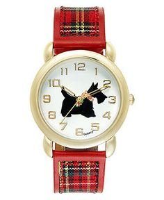 Charter Club Watch, Women's Red Plaid Fabric and Polyurethane Strap 35mm - Women's Watches - Jewelry & Watches - Macy's