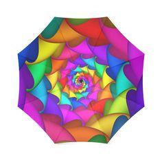 Psychedelic Rainbow Spiral Umbrella Foldable Umbrella | ID: D62451