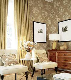 modern interior design with classic furniture-love the wallpaper