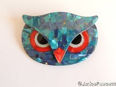 Lea Stein - Athena - Owl Face Brooch - NEW #LeaStein