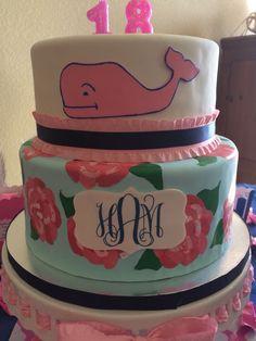 Lilly Pulitzer cake  Vineyard vines cake  Monogram cake  Preppy cake  18th birthday