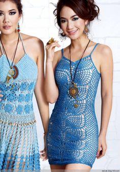 Crochetemoda: Vestido de Crochet Azul
