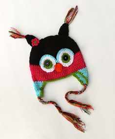 Take a look at this Hot Pink & Black Owl Earflap Beanie on zulily today!