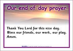 End of day prayer posters - SparkleBox Morning Prayer For School, End Of Day Prayer, School Prayer, Sunday School, Kindergarten Songs, Preschool Songs, Preschool Class, Preschool Lessons, Catholic Religious Education