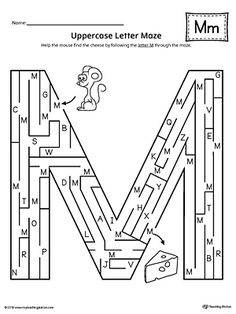 Uppercase Letter M Maze Worksheet Worksheet.If you are looking for creative ways to help your preschooler or kindergartener to practice identifying the letters of the alphabet, the Uppercase Letter Maze is the perfect activity. Letter M Activities, Preschool Letter M, Maze Worksheet, Printable Preschool Worksheets, English Worksheets For Kids, Printable Alphabet Worksheets, Writing Worksheets, Kindergarten Worksheets, Letter Maze