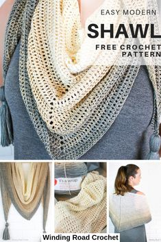 Beginner friendly shawl pattern with Video Tutorial. | Winding Road Crochet #crochetshawl #crochetvideotutorial #crochetpattern #freepattern #forbeginners #easy