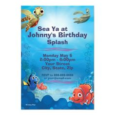 Finding Nemo Birthday Invitation Custom Announcement