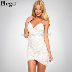 HEGO 2015 New  Arrival Summer Women's Sexy Lace Print Strap Dress MX185