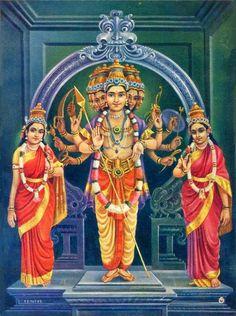Lord kartikeya with his consorts, Devayanai and Valli India Hindu Gods Vin. Lord kartikeya w Lord Murugan Wallpapers, Actress Priya, Shiva Statue, Lord Shiva Painting, Hindu Mantras, Mother Goddess, Shiva Shakti, Durga Goddess, Hindu Deities