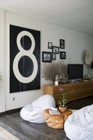 A large piece of plywood painted with the #8 on it...  a cheap, large decor item #Christmas #thanksgiving #Holiday #quote