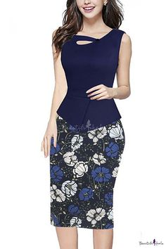 Women's Keyhole Neck Floral Print Cotton Peplum Bodycon Office Dress for teaching Source by Dresses Casual Dress Outfits, Skirt Outfits, Simple Dresses, Cheap Dresses, Office Dresses For Women, Clothes For Women, Skirt Fashion, Fashion Dresses, Vintage Pencil Dress