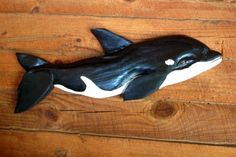 """Killer Whale 36"""" chainsaw wood carved Orca Whale nautical pacific beach cottage/deck/boat decoration woodworking art coastal living"""