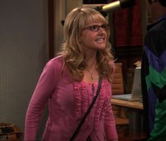 Bernadettes pink ruffle cardigan on The Big Bang Theory.  Outfit Details: http://wornontv.net/725/ #TheBigBangTheory