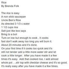 Rice by Brenda Folk