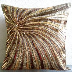 The HomeCentric Handmade Brown Cushion Covers, Sequins & Beaded Spiral Glitter Pillows Cover, Cushion Covers, Square Silk Pillows Covers for Couch, Contemporary Pillow Cases - Gold Bloom Brown Couch Pillows, Brown Cushions, Couch Cushions, Gold Pillows, Couch Sofa, Accent Pillows, Scatter Cushions, Brown Cushion Covers, Euro Pillow Shams
