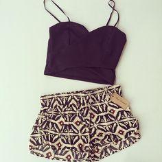 crop top and printed shorts