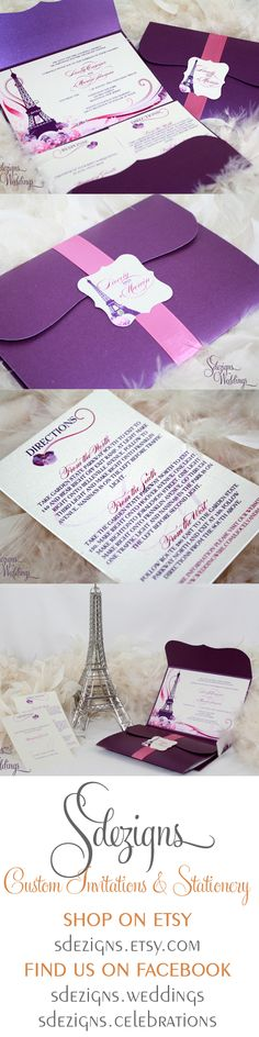 @Josie Tanner : Now I would have loved this!! lol PURPLE!! This Paris theme wedding invitation is full of life and color. The design focuses on the Eiffel tower motif surrounded by hydrangeas, orchids, swirls and crystals in clear and purple. By SDezigns