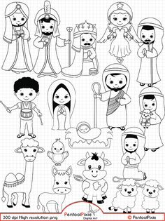 Nativity Line Art Digital Stamps Black and white Christmas Christmas Nativity, A Christmas Story, Christmas Colors, Christmas Art, White Christmas, Christmas Ornaments, Nativity Clipart, Art Clipart, Idees Cate