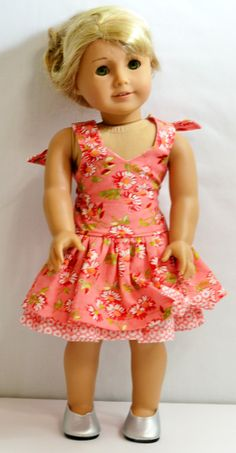 American Girl Doll Clothes - Peekaboo Dress, Shoes, And Headband