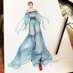 How to Draw a Fashionable Dress - Drawing On Demand Dress Design Drawing, Dress Design Sketches, Fashion Design Sketchbook, Fashion Design Drawings, Fashion Sketches, Art Sketchbook, Fashion Drawing Tutorial, Fashion Figure Drawing, Fashion Drawing Dresses