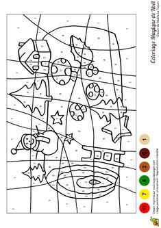 Un jeu de coloriage magique représentant une bûche de Noël.