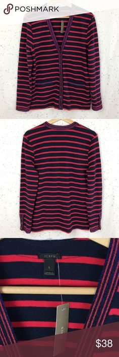 "New J. Crew Metallic-Trim Striped Cardigan Sweater J. Crew Metallic-Trim navy & red striped Cardigan Sweater, size large. New with tags! Has a small imperfection-see 4th photo. Style F8816, from Holiday 2016. 99% cotton, 1% elastane.  •19.5"" Across chest   •26.5"" long J. Crew Sweaters Cardigans"
