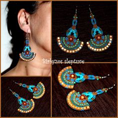 Colorful macrame earrings with czech glass beads and cooper beads <3