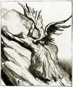 Honoré Daumier - The torture of Prometheus. Tags: prometheus, titans, punishments,