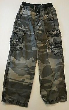 Union Bay Boys Black Camouflage Camo Cargo Pants Size 10