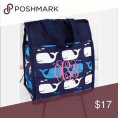 "A Whale Of A Good Lunch Bag * Customizable * Super cute lunch bag for him or her. Monogram it for a unique look.                                                *Microfiber Construction*  *Outside Front Velcro Pocket*  **Insulated Inside*  **Zip Top Closure*  **Double Handles with 6"" Drop*  **11"" Tall x 9"" Wide (Bottom) x 5.5"" Deep* (This listing does not include monogram). Bags"