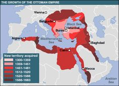 The Ottoman empire lasted for six hundred years and was dismantled at the end of the first world war. This is a map of the empire at the peak of it`s growth. This relates to the middle east because it`s capital was located in modern day Istanbul in Turkey. History