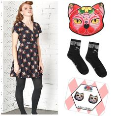 Kitty cat themed outfit featuring Jubly-umph jewellery and Dangerfield cat dress
