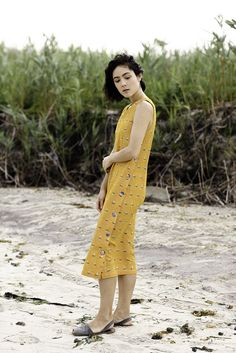 Image of Button Panel Dress- Yellow Ikat